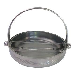 Art Deco Chrome & Divided Glass Serving Dish