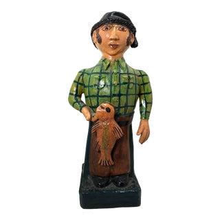 Folk Art Naive Fisherman Pottery Sculpture For Sale