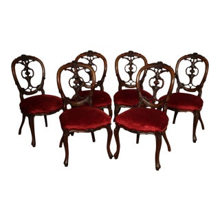 Antique Victorian Rococo Revival Set 6 Rosewood Side Dining Chairs For Sale
