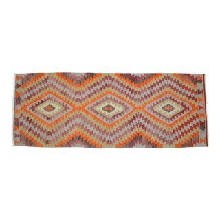 Hand-Woven Turkish Runner Rug. Tribal Wide Runner 3′8″ × 9′7″