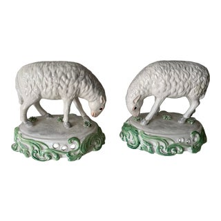 Mid 20th Century Chelsea House Sheep Made in Italy - a Pair For Sale