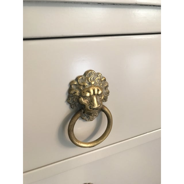 Vintage Rway Gray Lacquered Lion's Head Chest of Drawers - a Pair - Image 4 of 11