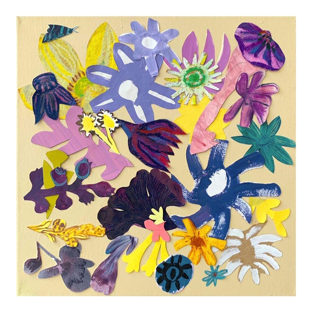 """""""Floral Collage 4"""" Contemporary Botanical Mixed-Media Collage Painting by Hayley Mitchell For Sale"""