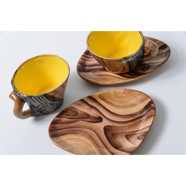 "French Vallauris Faux Bois ""Tete a Tete"" Coffee Set - Image 6 of 10"