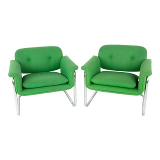 Mid Century Green and Chrome Cantilever Lounge Chairs - a Pair For Sale