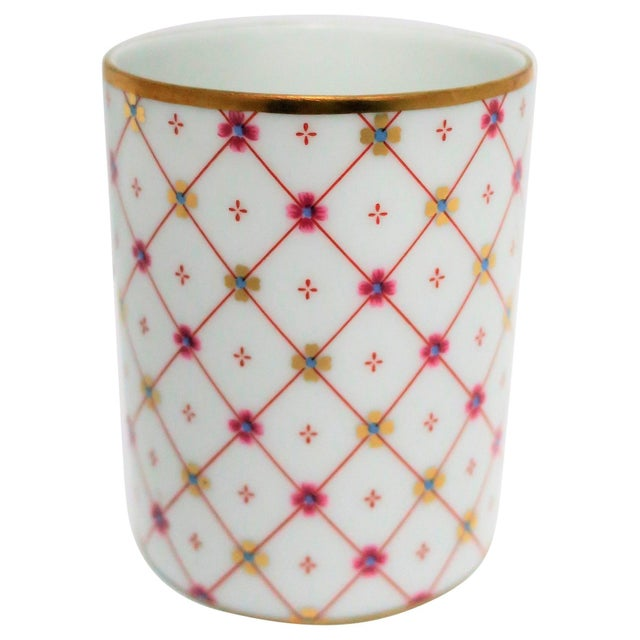 Italian White and Gold Porcelain Vanity Cup by Designer Richard Ginori For Sale - Image 11 of 11