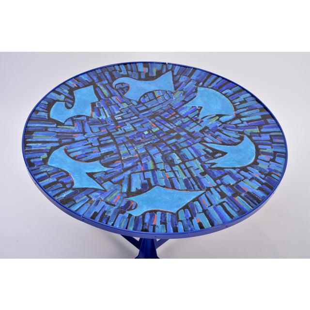 Blue Tall Blue Italian Midcentury Dining Table With Enameled Copper Top, 1950s For Sale - Image 8 of 9