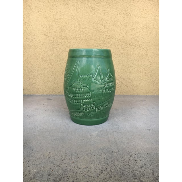 Vintage Contemporary Chinoiserie Green Ceramic Garden Stool For Sale - Image 4 of 9