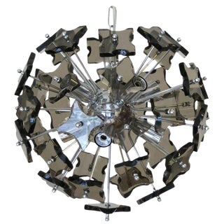 Smoky Faceted Sputnik Chandelier For Sale