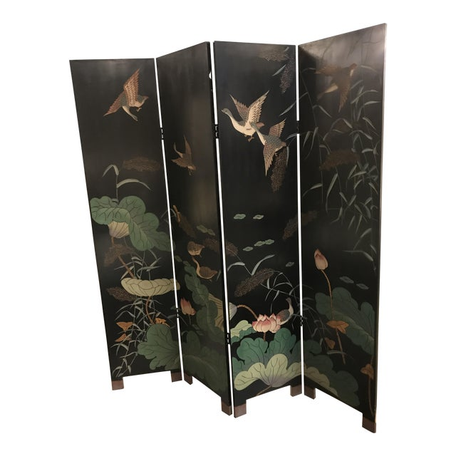 Vintage Chinese Lacquer Coromandel 4-Panel Screen For Sale