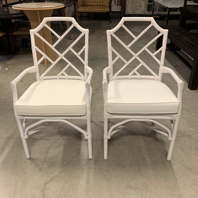 Design Plus Gallery presents a NEW Pair of Kara Rattan Arm Chairs by New Pacific Direct. A Chippendale style design...