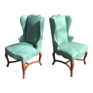 Hollywood Regency Turquoise Studded Leather Chairs- a Pair For Sale