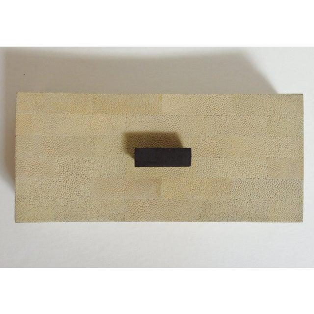 Fabio Ltd Beige Curved Shagreen Box by Fabio Ltd For Sale - Image 4 of 6