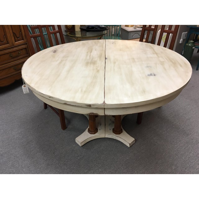 Country Expandable Round Farm Table For Sale - Image 3 of 6