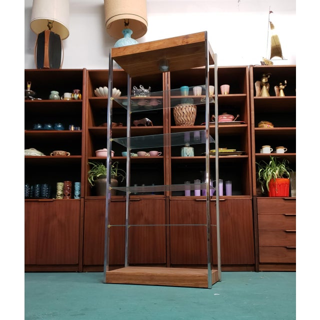 20th Century Mid Century Chrome & Wood Etagere For Sale - Image 4 of 4