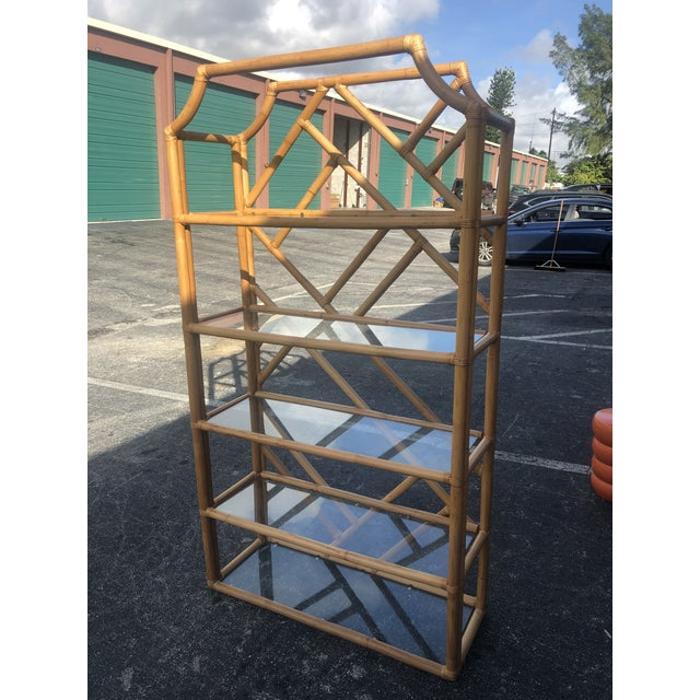 Gold Vintage Tall Bamboo Etagere For Sale - Image 8 of 10