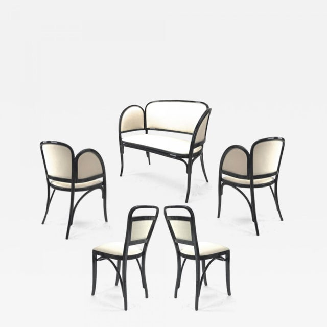 Maison Thonet Rare Set of Black Lacquered Bent Wood Five Pieces Set For Sale - Image 9 of 9