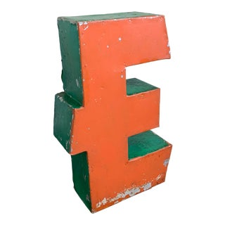 """1950's Deco Type Enameled Channel Letter Capital """"E"""" For Sale"""