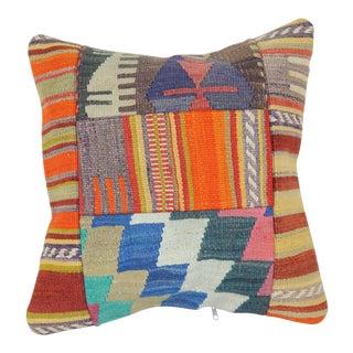 "Vintage Patchwork Kilim Pillow Cover 19"" X 19"" For Sale"
