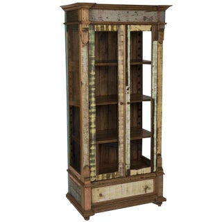 Rustic Distressed China Display Cabinet