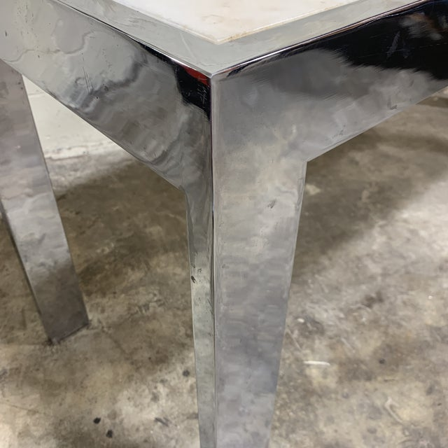 Pace Carrara Marble & Chrome Console Table For Sale - Image 10 of 12