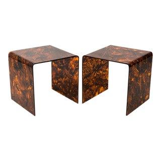 Faux Tortoise Lucite Tables - a Pair For Sale