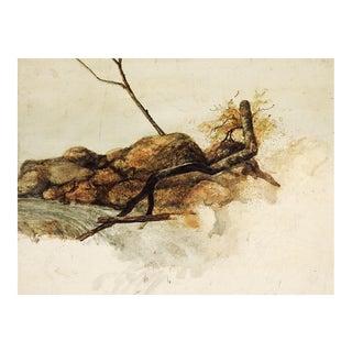 Vintage River Rapids Painting Study For Sale