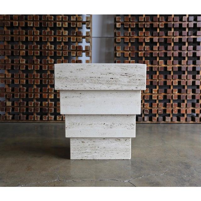 Gray Sculptural Modernist Travertine Pedestal For Sale - Image 8 of 8