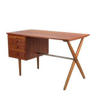 1960s Danish Teak & Oak Writing Desk For Sale
