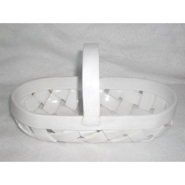 Vintage ceramic white lattice design oblong bowl with wide handle. All cross lattice is 1 inch wide with good thickness...