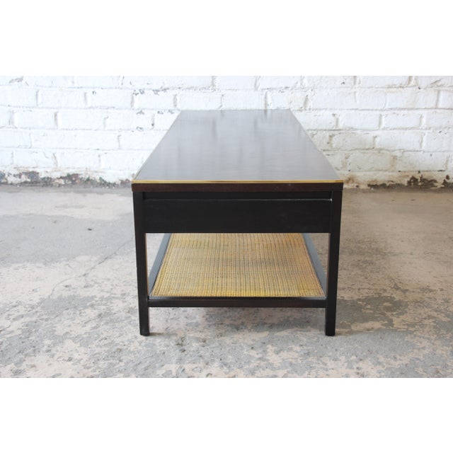 """Gold Paul McCobb for Calvin """"Irwin Collection"""" Double-Sided Leather Top Coffee Table For Sale - Image 8 of 13"""