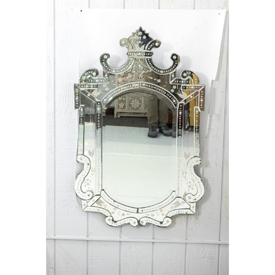 Silver Mid 20th Century Etched Venetian Mirror For Sale - Image 8 of 9