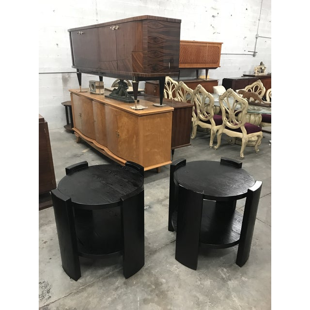 French Art Deco Solid Ebonized Cerused Oak Coffee Tables - A Pair - Image 5 of 11