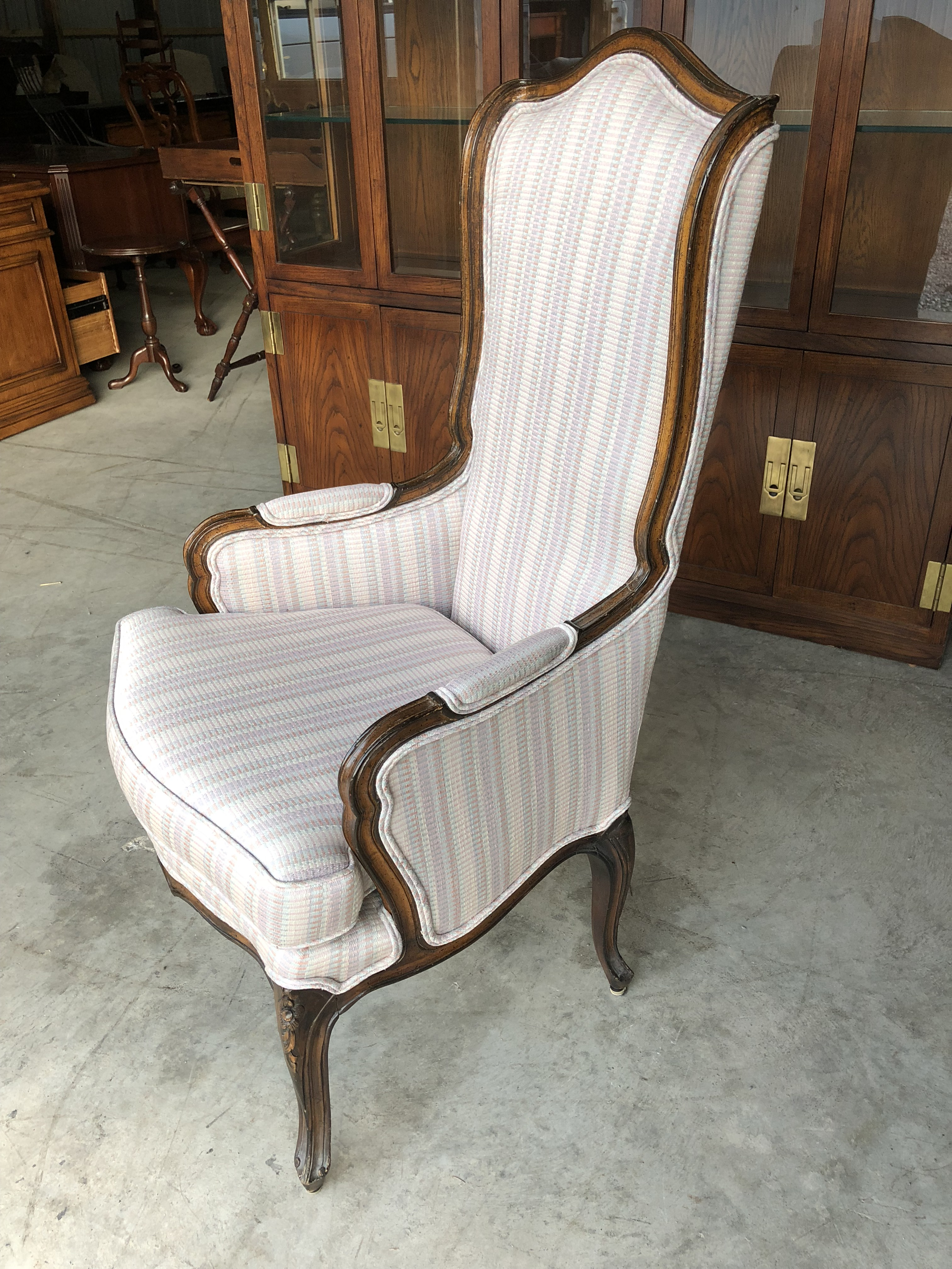Vintage French Provincial Styled Wingchair. Great Diminutive Size That  Would Work Well As An Accent