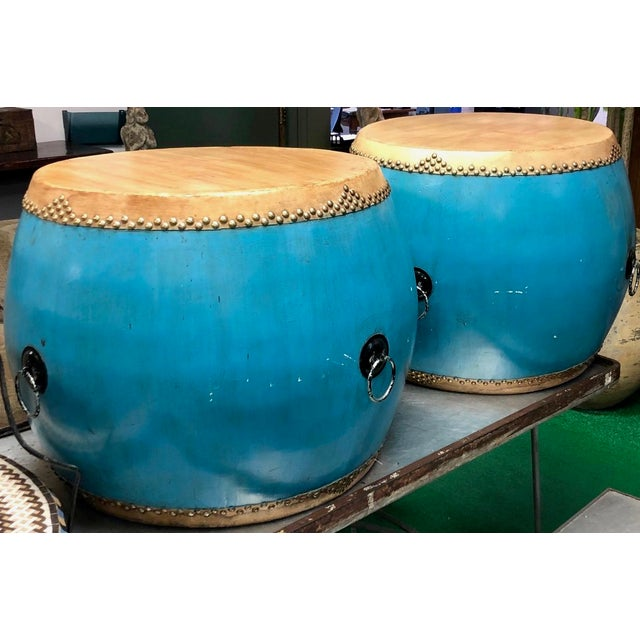 1960s Chinese Turquoise Drums - a Pair For Sale - Image 5 of 6