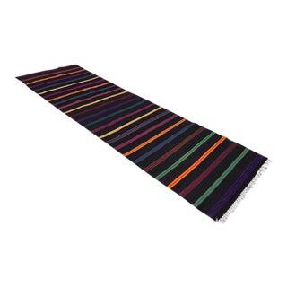 Vintage Turkish Black Striped Kilim Runner Rug - 1′11″ × 7′9″ For Sale