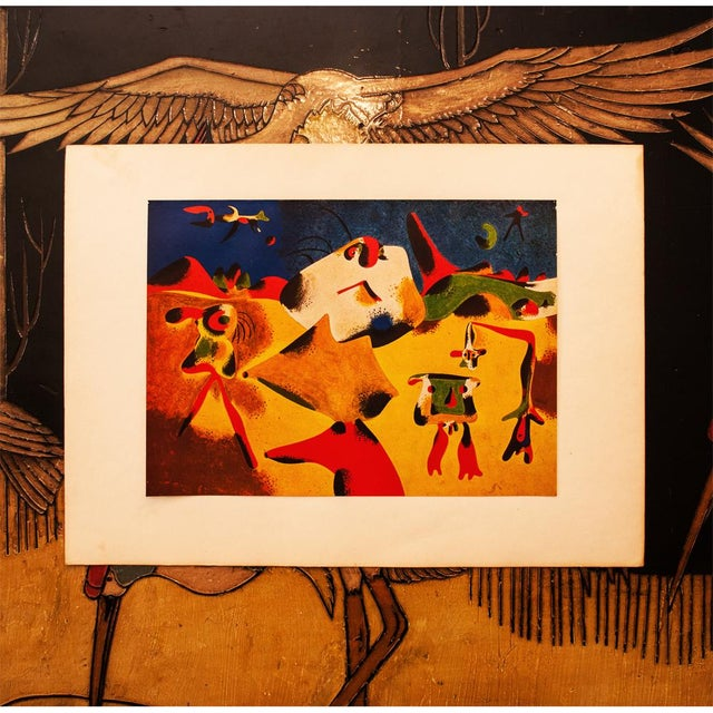 """Abstract Early 1940s Juan Miró, Original Period Lithograph """"Characters, Mountain, Sky, Star and Birds"""" For Sale - Image 3 of 8"""