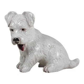 1950 French White Terracotta Dog
