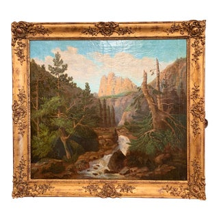 19th Century French Oil on Canvas Landscape Painting in Carved Giltwood Frame For Sale
