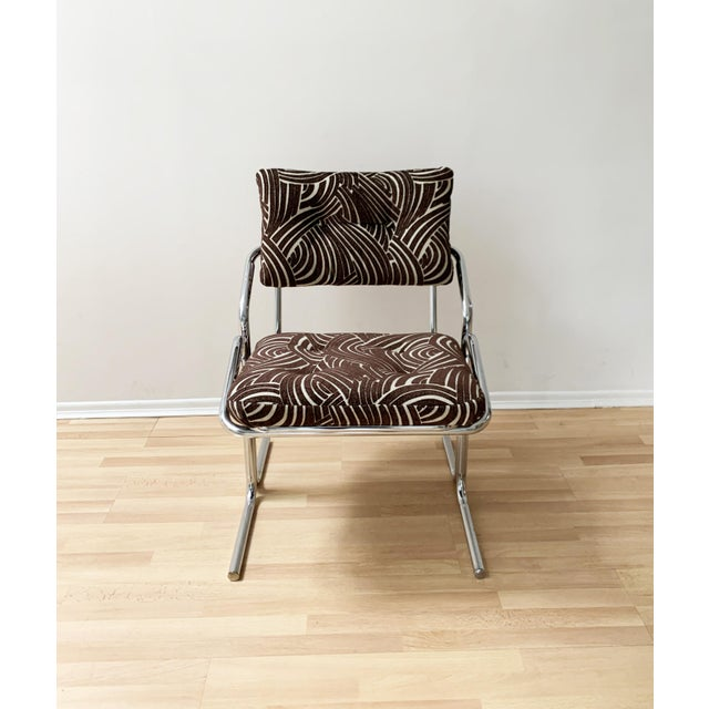 1970s Jerry Johnson Style Upholstered Accent Chair For Sale - Image 5 of 9