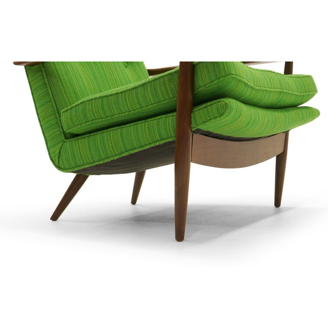 Rare George Nakashima for Widdicomb High Back Lounge Chair and Ottoman For Sale - Image 10 of 11