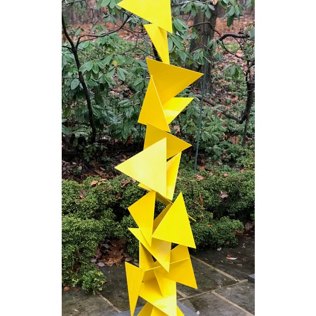 """Abstract Abstract Modern """"Trougao"""" Yellow Triangle Garden Sculpture For Sale - Image 3 of 6"""