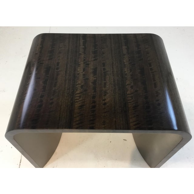 Caracole Modern Caracole Dark Wood and Silver Finish Streamline End Table For Sale - Image 4 of 5