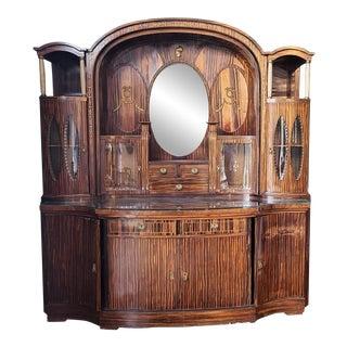 Fantastic Antique Zebrawood German Art-Deco Style Hallway Cabinet C1900 For Sale