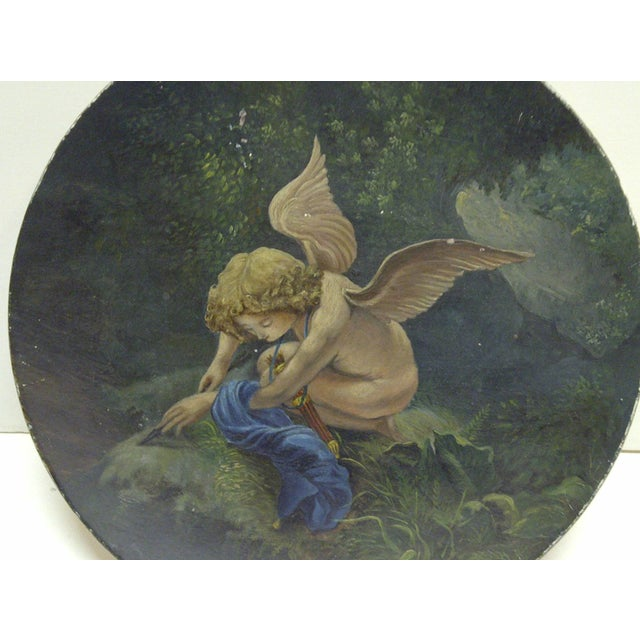 "Figurative 1890 Vintage ""Little Angel"" Decorative Plate For Sale - Image 3 of 6"