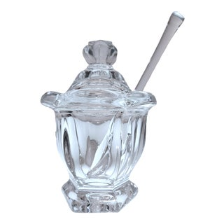 Late 20th Century Baccarat Crystal Harcourt Missouri Condiment or Jam Jar With Lid and Spoon For Sale