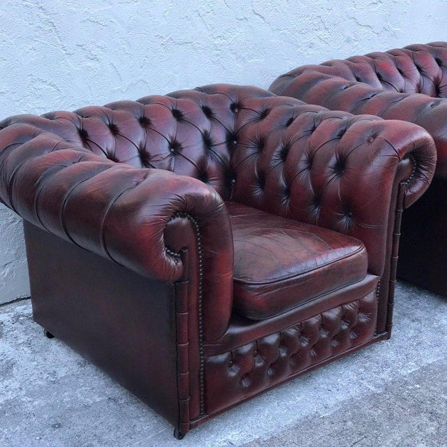 Wood Pair of English Red Leather Chesterfield Club Chairs With Faux Bamboo Detail For Sale - Image 7 of 13