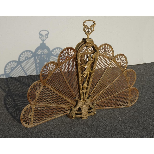Abstract Vintage Brass Old Peacock Style Fan Fireplace Screen For Sale - Image 3 of 10