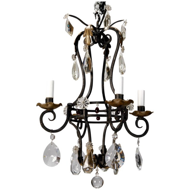 1930's French 4-Light Black Iron & Crystal Chandelier - Image 1 of 4