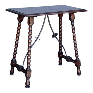 Custom Wood Side Table with Iron Supports and Turned Bobbin Legs For Sale
